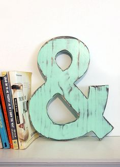 """12"""" Wooden Ampersand Mint Navy Pine Wood Sign Wall Decor Rustic Americana Chic Wedding guest book  Engagement Photo Prop Nursery Kids Decor"""