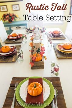 This time and money saving rustic table setting includes fence board chargers, dollar store plates and glasses, yard sale napkins and mini pumpkins. Who said decorating had to be expensive and costly? Let Marty's Musings show you how to be frugal AND beautiful!