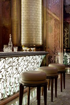 Stunning lit bar at the Royal Mansour in Marrakech Morocco. One of the world's most beautiful hotels and a Leading Hotel of the World @leadinghotels