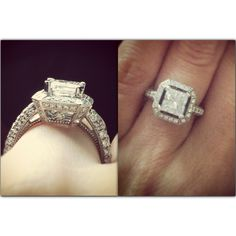 Princess cut diamond halo with raised center stone. Love this!! Repinned by favorite follower Melissa Warfield