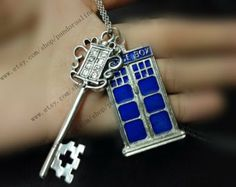 antique silver Doctor Who jewelry Blue Tardis Necklace