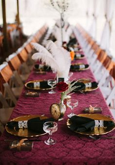 Adorable Steampunk Wedding Table Settings