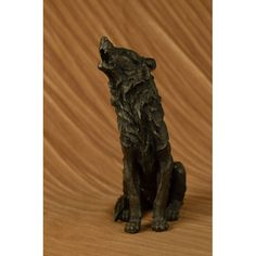 """ON SALE !!! Art Deco Sculpture Statue Hot Cast """"Wolf Howling At The Moon Decor...This Is A Stunning Bronze Sculpture Featuring A Stand Alone Wolf. His Posture Is Tall And Head Is Raised Toward The Full Moon As He Releases A High Pitched Howl. The Artist Has Captured The Detailing Of This Sculpture Allowing You To Feel The Texture Of His Coat. The Wolf Symbolizes Free Will And The Ability To Escape. These Gorgeous Creatures Are Also Related To Dogs As They Represent Loyalty And Friendship…"""