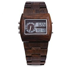 BEWELL Bamboo Wooden Men Quartz Watch with Double Movement Luminous Display(Maple Wood)