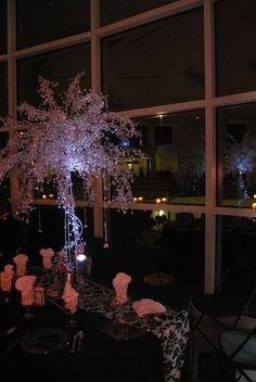 Crystal centerpiece with LED spotlight; love this tree but wish the vase was full.