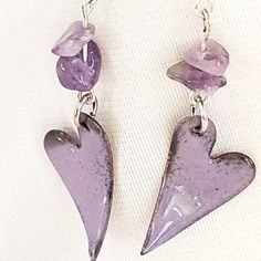 These heart earrings are mauve purple enamel on copper, domed and torch fired. Copper Earrings, Copper Jewelry, Beaded Jewelry, Unique Jewelry, Jewlery, Fused Glass Jewelry, Enamel Jewelry, Polymer Clay Jewelry, Heart Jewelry