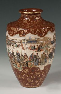 A Satsuma Vase with a Medieval Village Scene