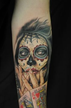 amazing day of the dead girl tattoo.
