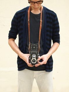 Beautiful leather camera strap