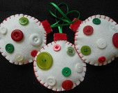 Green Felt and colorful button Christmas tree ornaments.