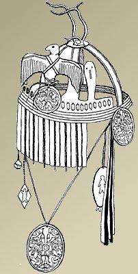 Головной убор нганасанского шамана. Опубл.: Попов А.А. Нганасаны: Социальное устройство и верования. Л., 1984, с. 124, рис. 7.