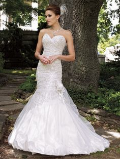 David Tutera's sweetheart sequin lace and tulle over satin modified mermaid Bridal Gown - Final Sale