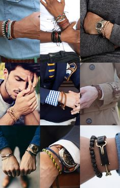Men's Leather and Woven Bracelets Lookbook