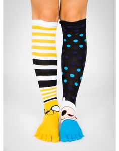 Party points to ME! I just found the Adventure Time Funko Mix & Match Knee High Toe Socks from Spencer's. Visit their mobile website to get this item and more like it.
