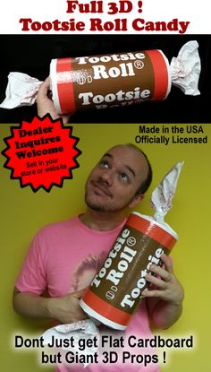 Tootsie Roll 3D Candy Prop  Hey ! Pass me a tootsie roll !. Got to love them little candies. Now you can have a giant Tootsie roll !. Decorate your party, retail space or event.  Dont just have a flat 2D cardboard cutout. !! %2...