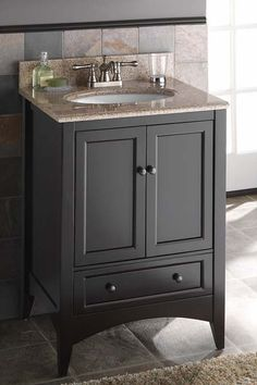 Berkshire Collection   WOLF - Dark vanity with silver faucet and slate like tile