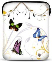 8 - 10 inch Butterflies White Fleur Floral Netbook Laptop Sleeve Slip Case Pouch Bag for Apple iPad 1 iPad 2 iPad 3 / most of Acer ASUS Dell HP Sony Toshiba Ipad Mini Cases, Ipad Case, Cute Gifts, Unique Gifts, Laptop Bag For Women, Laptop Bags, Apple Ipad 1, Butterfly Gifts, Ipad Sleeve