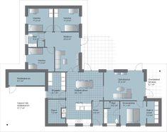 V Gennemtænkt familiehus med integreret carport Bungalow, Plan Drawing, Modern House Design, Planer, House Plans, New Homes, Floor Plans, How To Plan, Interior Design