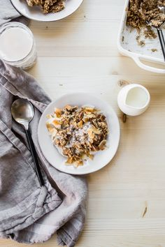 Coconut Chai Baked Oatmeal served with coconut cream   edibleperspective.com