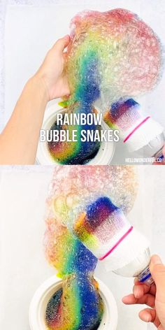 These Rainbow Bubble Snakes are a colorful way for kids to play with bubbles and a fun recycled craft! projects for kids Bubble Activities, Toddler Learning Activities, Craft Activities For Kids, Preschool Crafts, Craft Kids, Rainbow Activities, Science Crafts, Science Projects, Fun Diy Crafts