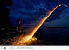 Long exposure of a bottle rocket.