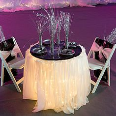 Create our romantic castle in the sky table setting with our silver star sprays, metallic streamer, white Shimmera and more.