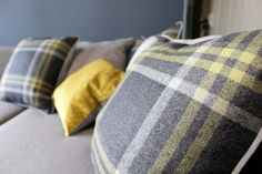Check Grey/Plain grey Cushion - WARINGS Store  www.waringsathome.co.uk
