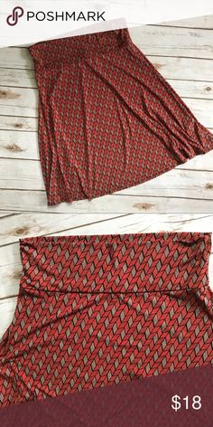 LuLaRoe Azure Skirt In excellent condition... Red, blue, black and cream chevron print... Spun polyester/spandex LuLaRoe Skirts