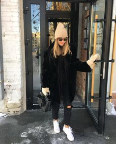 "e07441bcb6a8 Irina Golomazdina on Instagram  ""На фото  шапка, варежки, пиджак, водолазка  и шуба все  12storeez , джинсы Sandro, кроссовки addidas , сумка Celine, ..."