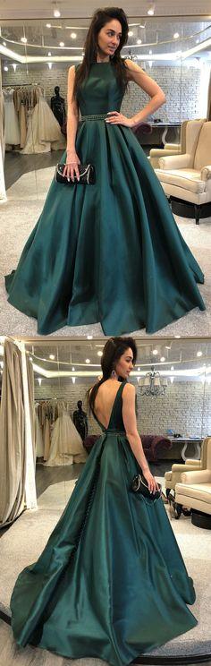2018 elegant A-line hunter green long prom dress evening dress party dress