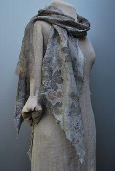 Extraordinary hand dyed summer art scarf eco print linen silk