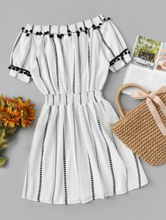 Shop Off Shoulder Pom Pom Trim Striped Dress at ROMWE, discover more fashion styles online. Trendy Summer Outfits, Cute Girl Outfits, Classy Outfits, Spring Outfits, Dress Outfits, Cool Outfits, Casual Outfits, Cute Dresses, Casual Dresses