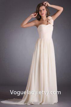 Custom Beach One-shoulder Sleeveless Floor-length Chiffon Long Cheap Bridesmaid/Evening/Party/Homecoming/Prom/Cocktail Dresses 2014