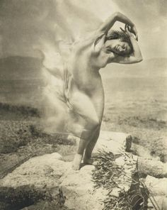 "Edward Jean Steichen, Bivange, Luxembourg, (1879-1973). American photographer, painter, art gallery and museum curator. ""Wind Fire"".  Thérèse Duncan, the adopted daughter of Isadora Duncan, dancing at the Acropolis of Athens (1921)."