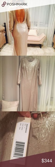 """HALSTON GOLD SEQUIN DRESS BEAUTIFUL HALSTON GOLD SEQUIN DRESS. Great for special events. New with tag. I'm 5'3"""" size 4 and this dress is long on me even with 5"""" heels Halston Heritage Dresses Long Sleeve"""