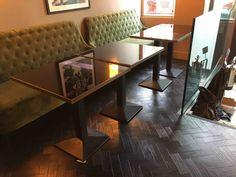 Beautiful floor in a beautiful restaurant Luxury Vinyl Flooring, Luxury Vinyl Tile, Vinyl Tiles, Commercial Interiors, Restaurant, Table, Furniture, Beautiful, Black
