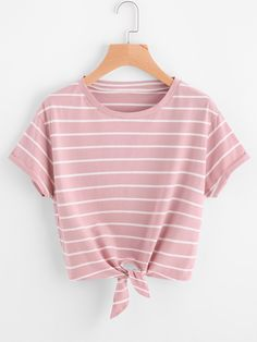 Knot Front Cuffed Sleeve Striped Tee PINK