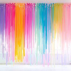 Modern rainbow My Little Pony party Streamer Decorations, Rainbow Party Decorations, Streamers, Party Kulissen, My Little Pony Party, Home Curtains, Scarf Curtains, Rainbow Birthday Party, Rainbow Room