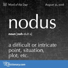 Nodus (n) .a difficult or intricate point, situation, plot, etc. The origin of this word is Latin. In Latin nodus means knot. For English the above translation is very good. Unusual Words, Weird Words, Rare Words, Unique Words, Cool Words, Fancy Words, Big Words, Words To Use, Pretty Words