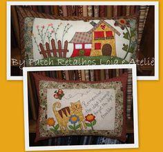 Lindas capas de almofadas, com aplicação e quilt livre, cores e aplicações variam de acordo com seu gosto. R$ 99,00