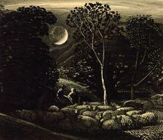 Moonlight, a Landscape with Sheep, Samuel Palmer, c Tate Britain Collection Nocturne, Twilight Scenes, Carl Spitzweg, Tate Britain, Social Art, Art Database, Celestial, Online Art, Art Images
