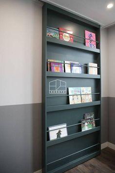 Small Apartment Design, Apartment Interior, Sliding Wall, Sliding Doors, Office Interior Design, Office Interiors, Floor Design, House Design, Hidden Door Bookcase