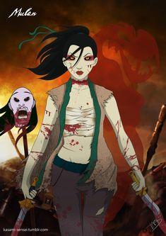 Twisted Disney Mulan by ~Kasami-Sensei on deviantART Emo Disney, Zombie Disney, Dark Disney, Disney Fan Art, Disney Halloween, Princesas Disney Zombie, Disney Horror, Disney Love, Evil Disney Princesses