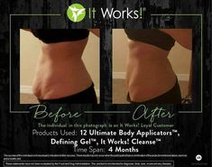 Body Contouring Wraps, the Ultimate Body Applicator by It Works Global deliver results in 45 minutes. Target any area you want to firm, tighten & tone on your body. Herbal Colon Cleanse, Natural Cleanse, It Works Body Wraps, It Works Distributor, It Works Global, Ultimate Body Applicator, Defining Gel, It Works Products, 90 Day Challenge