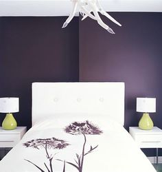 Design ideas for a gray & purple master bedroom