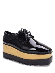 Black Lace-Up Patent Leather Platform Shoes - BLACK 36