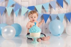 Photo Shoot idea -Banner in aqua, lime green and gray.  Cake Smash! Love the GIANT cupcake!