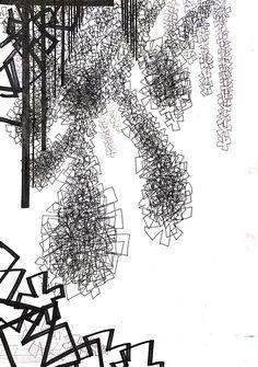 발레리나의 옷을 형상화 반복/ pen drawing-