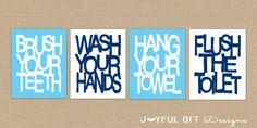 Kids Bathroom Wall Art. Bathroom Rules. Brush Wash Flush Hang Prints. Typography Bathroom Decor Printables. Set of 4 - 8x10 DIGITAL files. $16.00