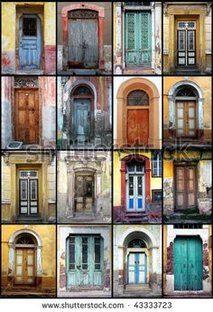 a detail shot of a variety of old doors